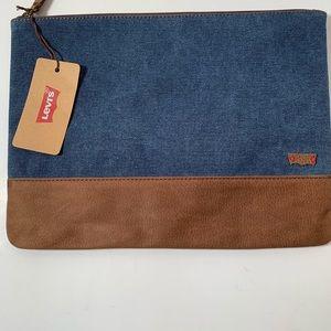 Levis Blue Jean & Brown faux leather zipper pouch.